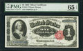 Large Size:Silver Certificates, Fr. 223 $1 1891 Silver Certificate PMG Gem Uncirculated 65 EPQ.. ...