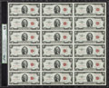 Small Size:Legal Tender Notes, Fr. 1509 $2 1953 Legal Tender Notes. Courtesy Autographed Uncut Sheet of 18. PMG Choice Uncirculated 64 EPQ.. ...