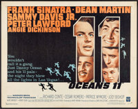"Ocean's 11 (Warner Brothers, 1960). Half Sheet (22"" X 28""). Crime"