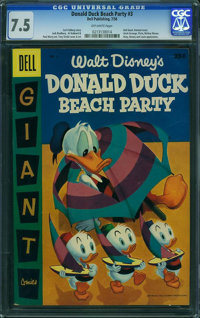 Dell Giant Comics Donald Duck Beach Party #3 (Dell, 1956) CGC VF- 7.5 Off-white pages