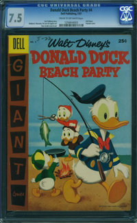 Dell Giant Comics Donald Duck Beach Party #4 (Dell, 1957) CGC VF- 7.5 Cream to off-white pages