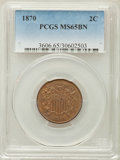 Two Cent Pieces: , 1870 2C MS65 Brown PCGS. PCGS Population: (3/0). NGC Census: (13/2). CDN: $300 Whsle. Bid for problem-free NGC/PCGS MS65. M...