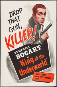 """King of the Underworld (Warner Brothers, R-1956). One Sheet (27"""" X 41"""") & Lobby Card Set of 4 (11"""" X..."""