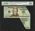 Error Notes:Foldovers, Fr. 2091-E $20 2004A Federal Reserve Note. PMG Choice About Unc 58EPQ.. ...