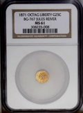 California Fractional Gold: , 1871 25C Liberty Octagonal 25 Cents, BG-767, R.3, MS61 NGC.Orange-gold surfaces display no significant contact marks, but ...