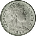 "1942 P1C ""One Cent"" Pattern, Judd-2054, Pollock-2074, R.8 (?), MS61 NGC. Same design, composition, and plain e..."