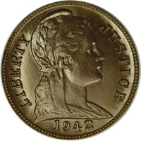 """1942 P1C """"One Cent"""" Pattern, Judd-2060, Pollock-4035, Low R.7, MS66 NGC. Same design and plain edge as the pie..."""