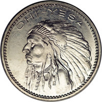 (1964) P25C Pattern Quarter Dollar. Pollock-5389, R.7. MS63 NGC. Indian Chief design, above, OHI--YESA. The reverse has...
