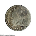Early Half Dimes: , 1794 H10C V-4a, LM-4, R.4.--Damaged--NCS. AG Details. Reiver statec. Dark gray throughout and the damage is minimal on the...