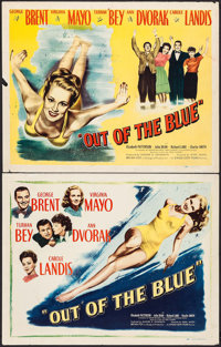 "Out of the Blue (Eagle Lion, 1947). Half Sheets (2) (22"" X 28"") Blue & Yellow Styles. Comedy. ... (Total:..."