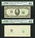Error Notes:Missing Face Printing (<100%), Fr. 2076-E $20 1988A Federal Reserve Note. PMG Choice Uncirculated64.. ...