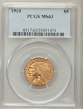 Indian Half Eagles: , 1910 $5 MS63 PCGS. PCGS Population: (659/271). NGC Census:(1011/344). CDN: $950 Whsle. Bid for problem-free NGC/PCGS MS63....
