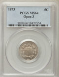 Shield Nickels, 1873 5C Open 3 MS64 PCGS. PCGS Population: (72/52). NGC Census: (71/55). CDN: $290 Whsle. Bid for problem-free NGC/PCGS MS6...