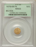 California Fractional Gold , 1876/6876 50C Indian Octagonal 50 Cents, BG-935, R.5, MS63 PCGS.PCGS Population: (10/10). NGC Census: (1/5). ...