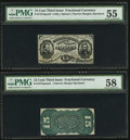 Fractional Currency:Third Issue, Fr. 1272SP 15¢ Narrow Margin Pair PMG Graded.. ... (Total: 2 notes)