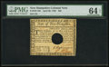 Colonial Notes:New Hampshire, New Hampshire April 29, 1780 $20 Hole Cancel PMG ChoiceUncirculated 64 EPQ.. ...