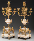 Decorative Arts, French:Other , A Pair of Louis XVI-Style Five-Light Gilt Bronze and White OnyxCandelabra, 19th century . 20-5/8 inches high (52.4 cm). ...(Total: 2 Items)
