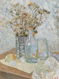 Fine Art - Painting, American:Contemporary   (1950 to present)  , Aleksander Titovets (American/Russian, b. 1960). Still Life withglass and flowers. Oil on canvasboard. 25 x 18 inches (...