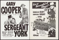 "Movie Posters:War, Sergeant York & Other Lot (Warner Brothers, R-1950s).Australian Posters (2) (14"" X 19""). War.. ... (Total: 2 Items)"