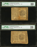 Colonial Notes:Continental Congress Issues, Continental Currency September 26, 1778 $20 PMG Very Fine 20 andVery Fine 30.. ... (Total: 2 notes)