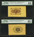 Fractional Currency:First Issue, Fr. 1231SP 5¢ First Issue Wide Margin Pair PMG Choice Uncirculated64 EPQ and Gem Uncirculated 65 EPQ.. ... (Total: 2 notes)