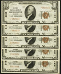 National Bank Notes:Alabama, Birmingham, AL - $10 1929 Ty. 1 The First NB Ch. # 3185 Five Consecutive Examples. ... (Total: 5 notes)