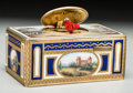 Decorative Arts, Continental, A German Enameled Gilt Metal Singing Bird Automaton Box, circa1970. Marks: KEN-D (in diamond), (K-bird-G), MADE INGE...