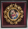Decorative Arts, Continental, A Framed Continental Painted Porcelain Plaque, after Raphael, late19th-early 20th century. 14-1/4 inches high x 14-1/4 inch...