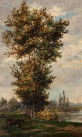 Fine Art - Painting, European:Antique  (Pre 1900), Eugenio Agneni (Italian, 1819-1888). Bougival pris de laSeine. Oil on panel. 8-7/8 x 5-5/8 inches (22.5 x 14.3 cm).Sig...