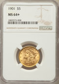 Liberty Half Eagles: , 1901 $5 MS64+ NGC. NGC Census: (549/148 and 23/3+). PCGS Population: (392/86 and 24/0+). CDN: $730 Whsle. Bid for problem-f...