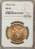 Liberty Double Eagles: , 1890-S $20 MS62 NGC. NGC Census: (394/98). PCGS Population: (581/234). CDN: $1,650 Whsle. Bid for problem-free NGC/PCGS MS6...