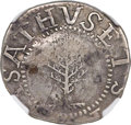 1652 SHILNG Pine Tree Shilling, Large Planchet, No Pellets at Trunk -- Counterstamped -- NGC Details. VF. Noe-2, W-700...
