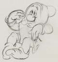 Animation Art:Production Drawing, Snow White and the Seven Dwarfs Sleepy Rough AnimationDrawing (Walt Disney, 1937).. ...