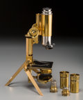 , A Cased J. Swift & Son Folding Traveling Monocular Microscope,late 19th century. 6-1/2 inches high (16.5 cm) (base, collaps...