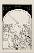 Original Comic Art:Miscellaneous, Mary Wilshire Red Sonja #2 Cover Preliminary Original Art(Marvel, 1983)....