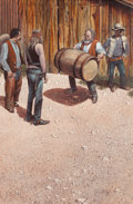 Fine Art - Painting, American:Contemporary   (1950 to present)  , Jim Daly (American, b. 1940). Barrel Lifting, 1975. Oil oncanvas. 36 x 24 inches (91.4 x 61.0 cm). Signed lower right: ...