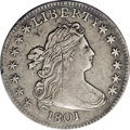 Early Dimes: , 1801 10C JR-2, R.5.--Damaged--NCS. XF Details. Intermingled lightgray and charcoal gray toning. Liberty's hair details are...