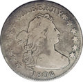 Early Dimes: , 1802 10C JR-2, R.5.--Bent--NCS. Fine Details. Gunmetal graysurfaces with iridescent highlights. Despite a tiny mintage of ...