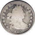 Early Dimes: , 1803 10C JR-3, R.4. Reiver state a.--Reverse Damage--NCS. GoodDetails. Medium gray toning on the high points deepens to gu...