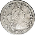 Early Dimes: , 1804 10C 14 Stars on Reverse JR-2, R.5. Reiver state a.--ObverseDamage--NCS. XF Details. Light silver-gray surfaces which ...