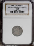 Early Dimes: , 1805 10C 4 Berries JR-2, R.2. Reiver state a. AG3 NGC. Attractivedark gray in the fields with lighter silver on the device...