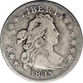 Early Dimes: , 1805 10C 4 Berries JR-2, R.2. Reiver state a.--Damaged--NCS. FineDetails. Toned a pleasant medium gray with lighter silver...