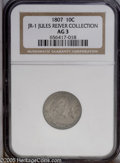 Early Dimes: , 1807 10C JR-1, R.2. Reiver die state b. AG3 NGC. Mottled mediumgray and darker gray toning with some peripheral golden-bro...