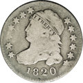 Bust Dimes: , 1820 10C Small 0 JR-10, R.3. Reiver state b.--Bent--NCS. VGDetails. Full cud at NITE. Attractive light silver on the devic...