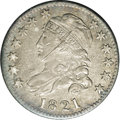 Bust Dimes: , 1821 10C Large Date JR-2, R.7. Reiver state a--Obverse Damage--NCS. XF Details.. The damage consists of a dull scratch from...