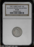 Bust Dimes: , 1821 10C Large Date JR-4, R.2. Reiver die state a. VF20 NGC. Steelgray with lighter silver on the devices. Excellent surfa...