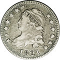 Bust Dimes: , 1821 10C Large Date JR-4, R.2. Reiver state b. VF35 NGC. Dark gray with tiny specks in the fields but generally attractive,...