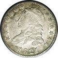 Bust Dimes: , 1821 10C Large Date JR-5, R.3. Reiver state a. AU55 NGC. Dusty-goldand silver throughout, and quite lustrous. The strike s...