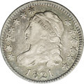Bust Dimes: , 1821 10C Large Date JR-6, R.2. Reiver state a. VF30 NGC. Deep grayin the fields with lighter silver on the devices, with h...