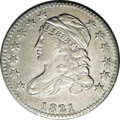 Bust Dimes: , 1821 10C Small Date JR-9, R.2. Reiver state a.--Improperly Cleaned--NCS. AU Details. Bright silver with a blush of speckled...